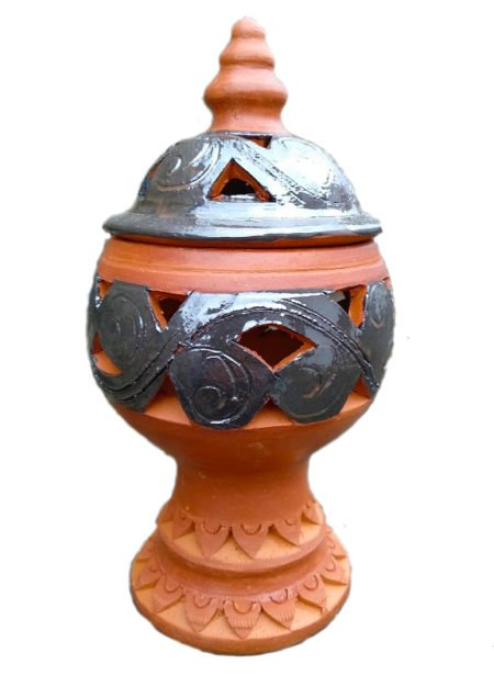 incensiere in terracotta a forma di coppa alt. 23 diam. 11 cm circa